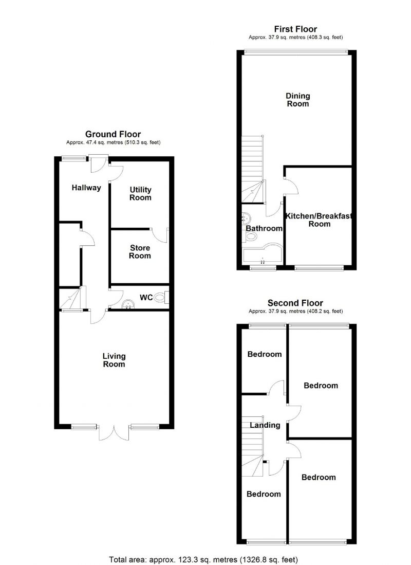 Floorplan for Croxton Close, Marple, Stockport