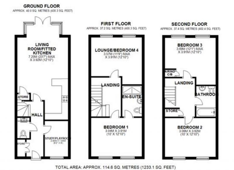 Floorplan for Pack Horse Close, Northwich, Cheshire