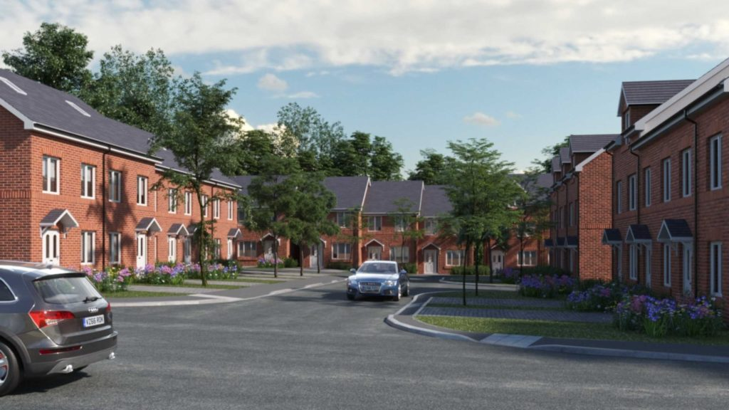 Hillside development. Rows of tree lined roads with new houses.