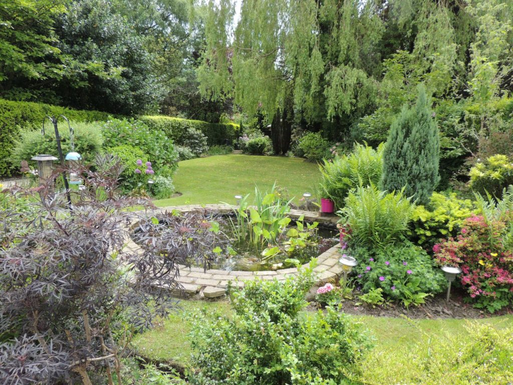Spring gardens with a pond, plants and trees