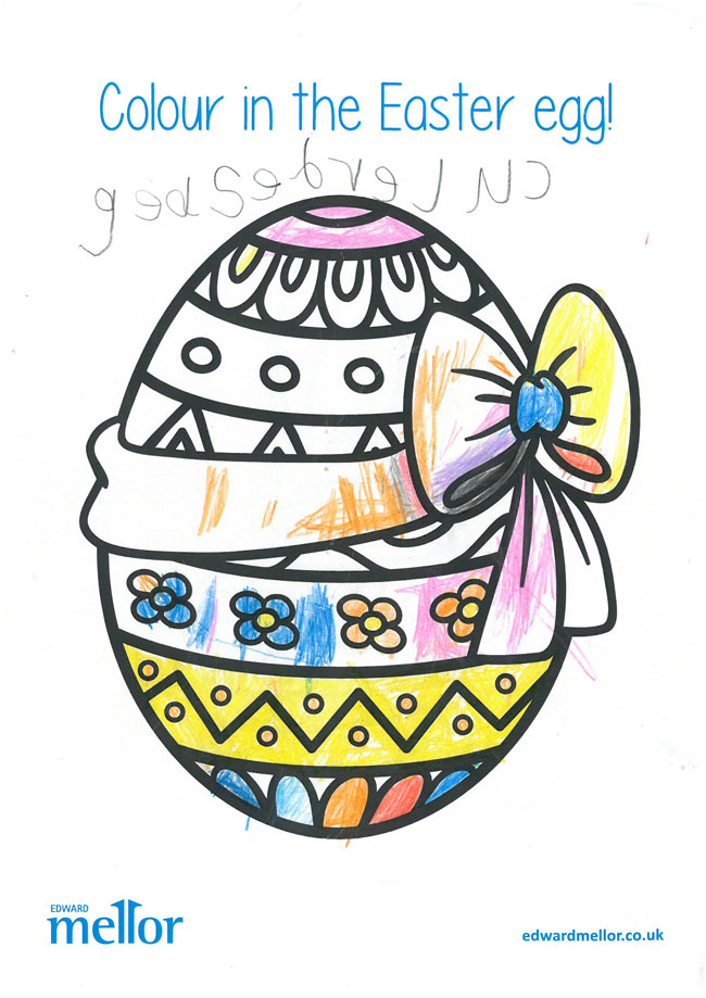 A drawing of an Easter Egg with a bow