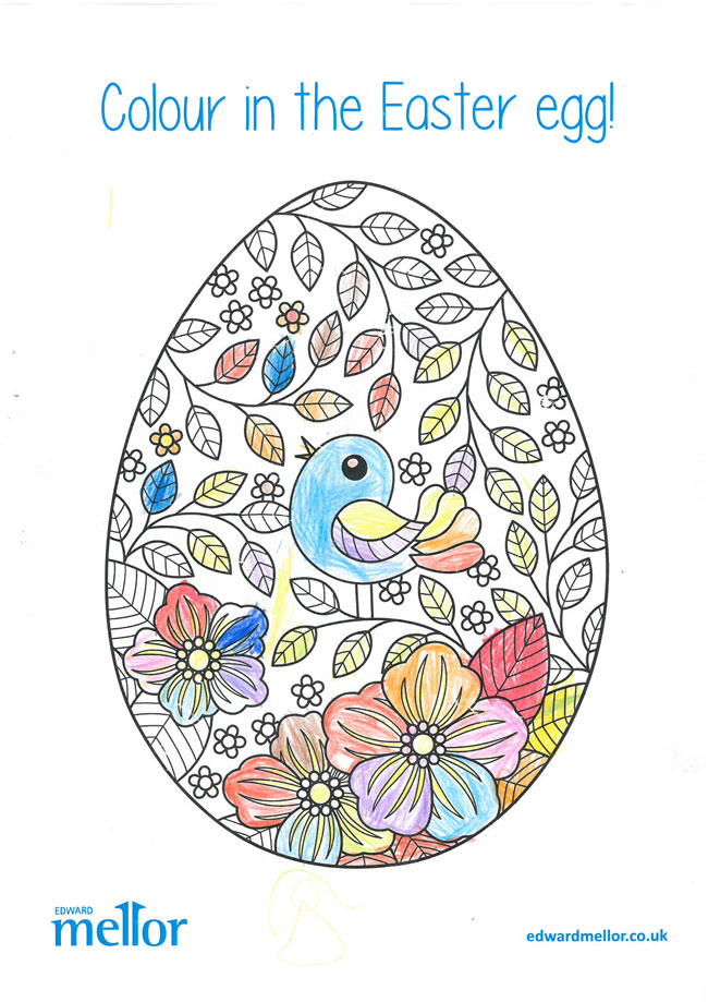A drawing of an Easter Egg with birds and flowers