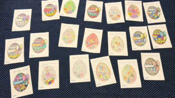 An array of Easter Egg drawings coloured in by Cheadle Hulme Primary School pupils