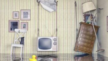 an insured home - flooded property with belongings